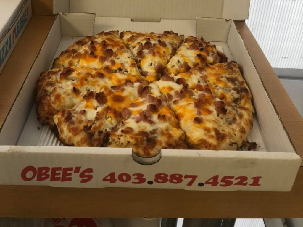 a pizza from Obee's in Sylvan Lake, Alberta