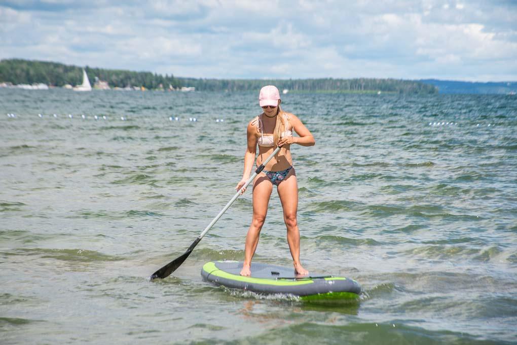 paddleboarding at Sylvan lake, Alberta