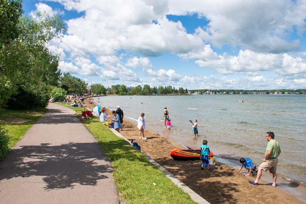 the beach area at Sylvan Lake, Alberta
