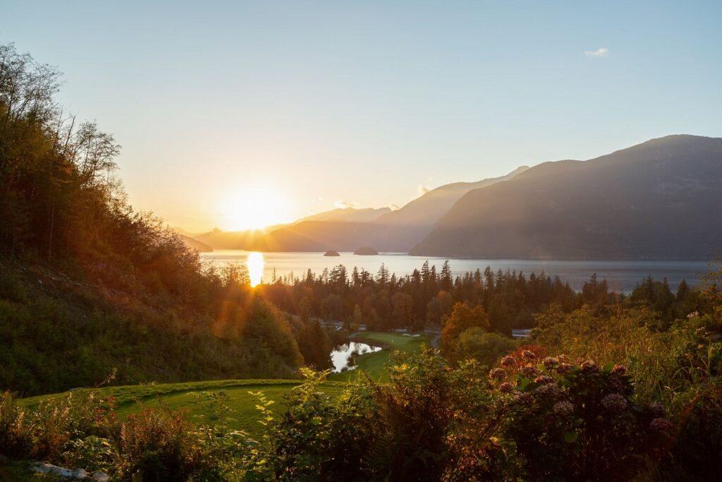 Furry Creek Golf course at sunset