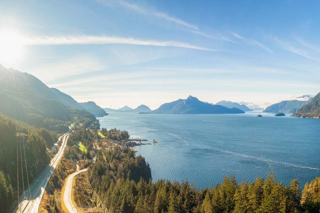 Sea to Sky Highway from the sky