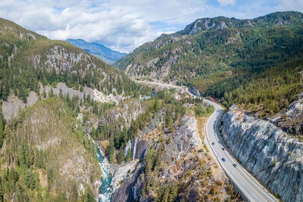 The Sea to Sky Highway as seen from a drone