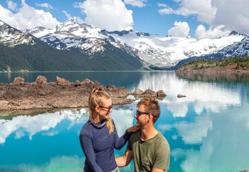 couple sitting at Garibaldi Lake