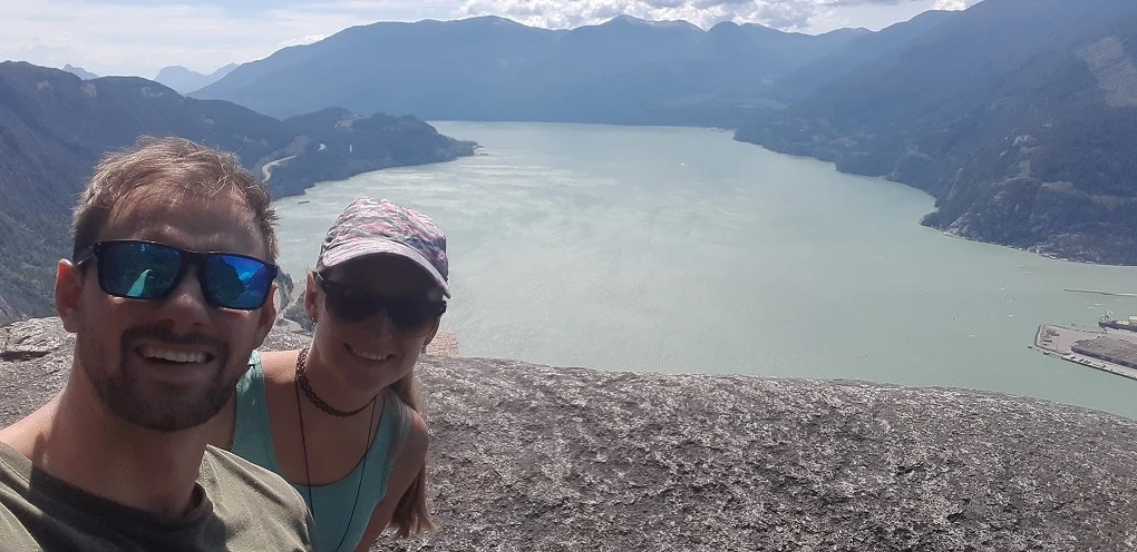 selfie on the Chief hiking trail on the road between Vancouver and Whistler