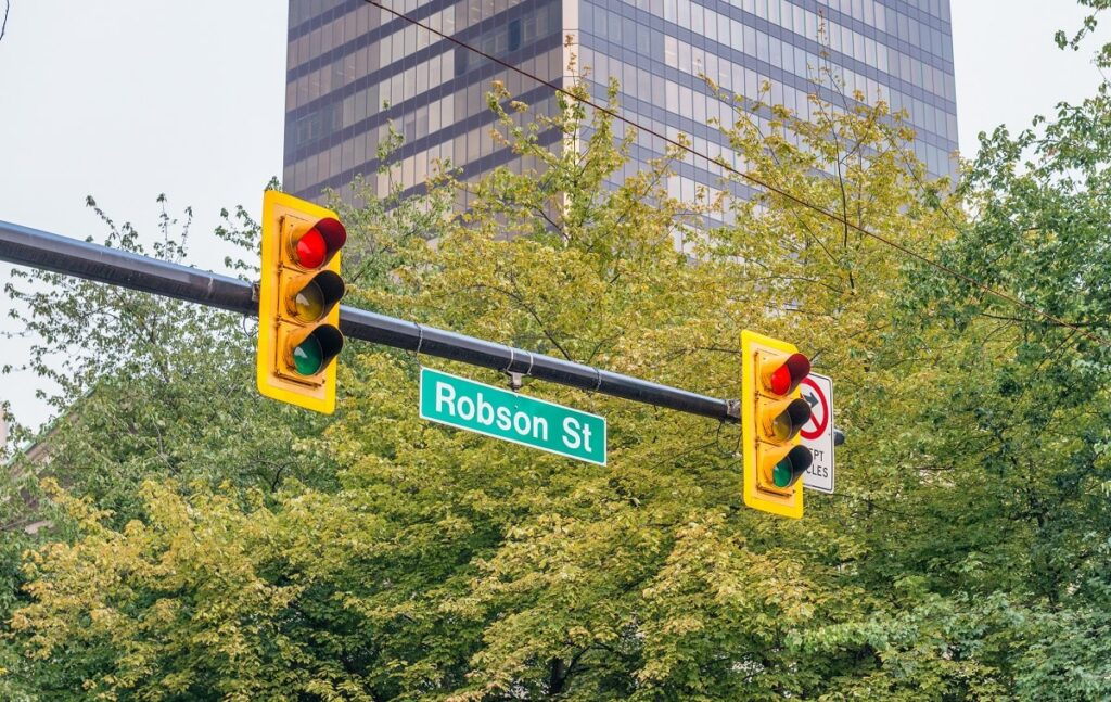 Robson Street sign in Vancouver