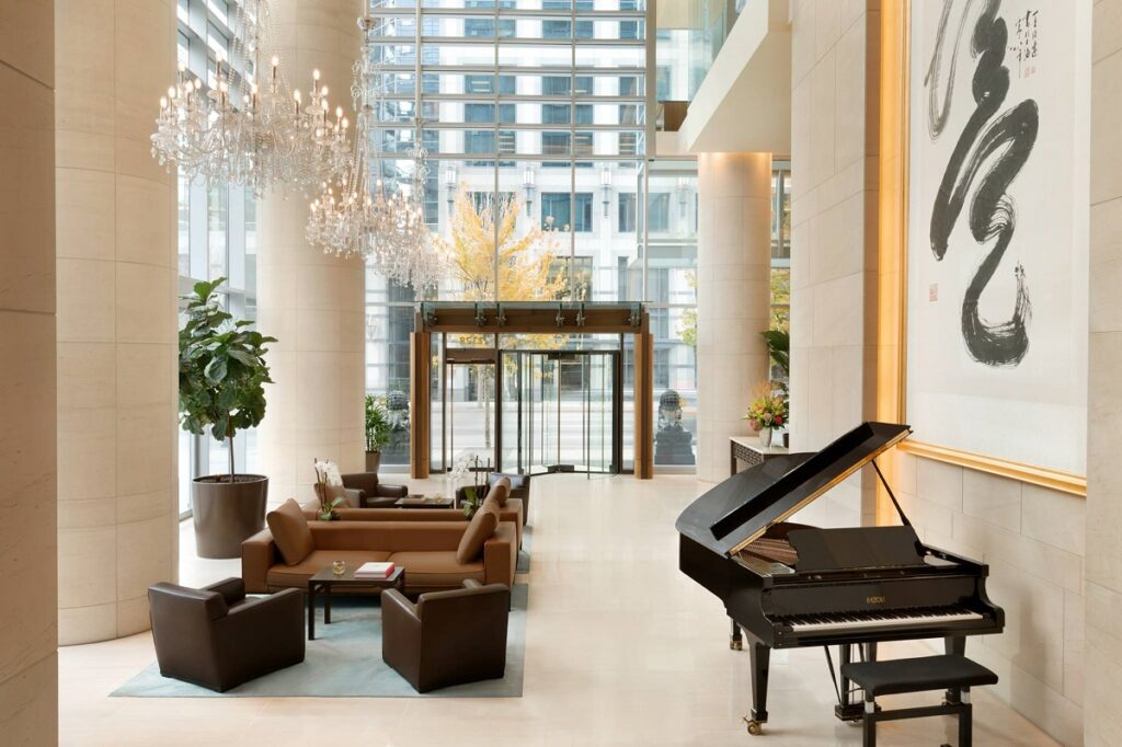 the lobby of the Shangri-la Hotel in Vancouver