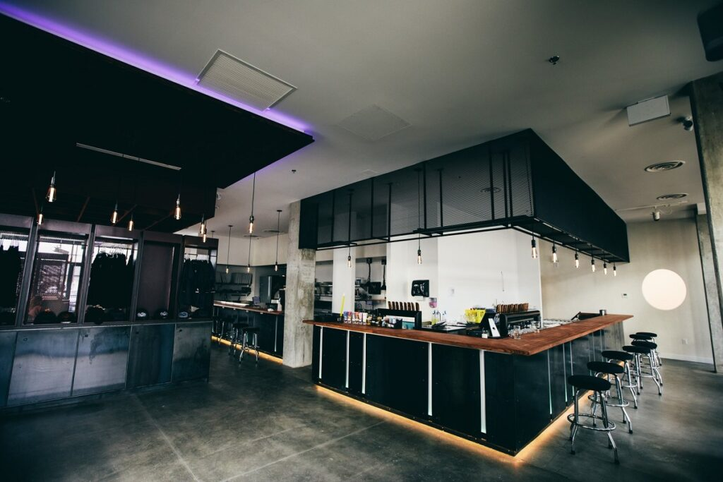 inside of Bad Tattoo brewery and restaurant in Kelowna
