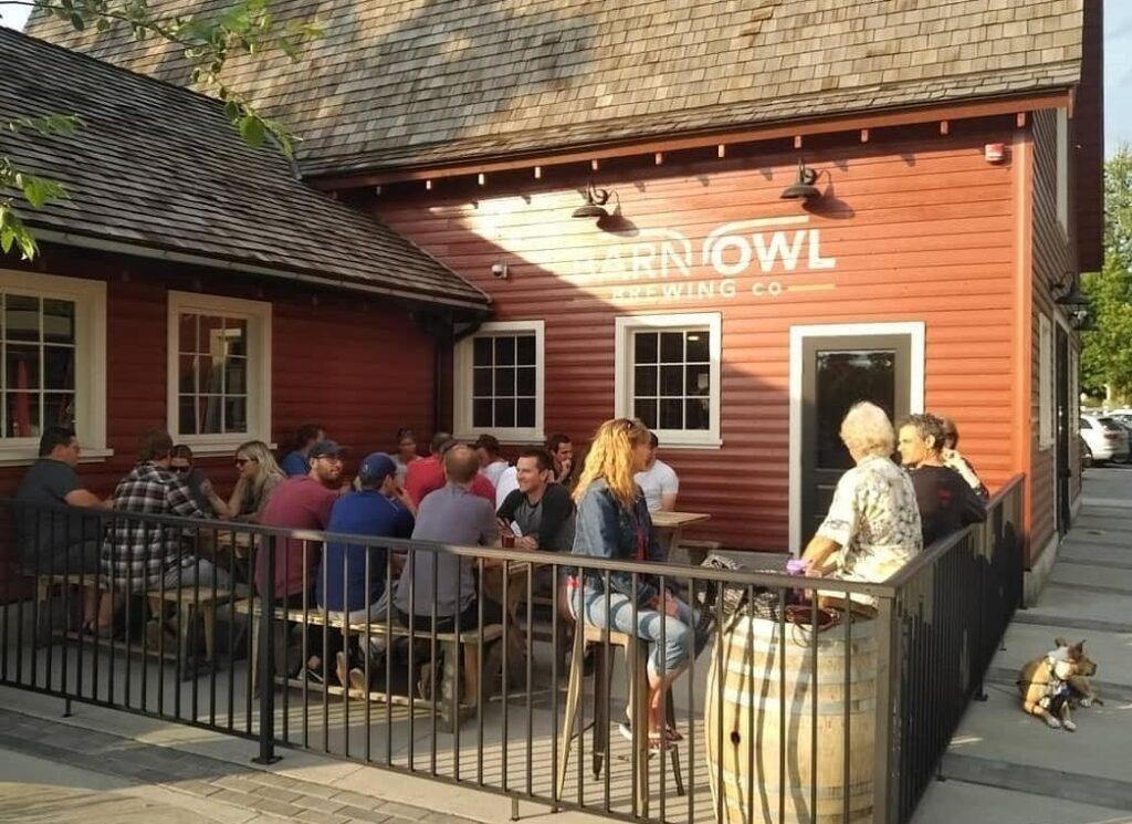 the patio at Barn Owl Brewing in Kelowna