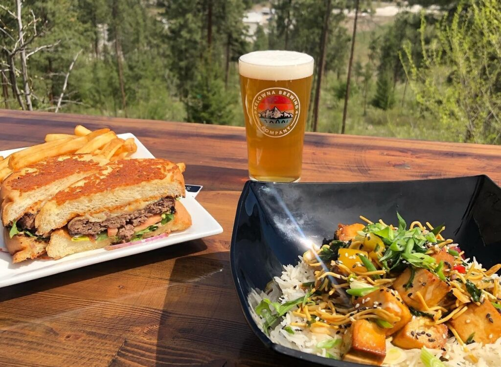 beer and food with a view at Kelowna Brwing Company