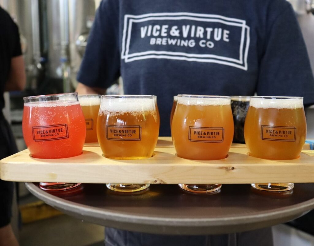 a tasting paddle at Vice and virtue Brewing co in Kelowna