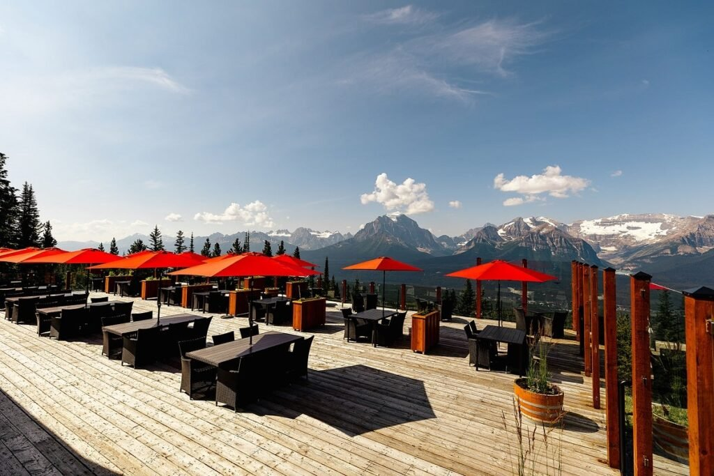 views from the Whitehorn Bistro restaurant patio in Lake Louise