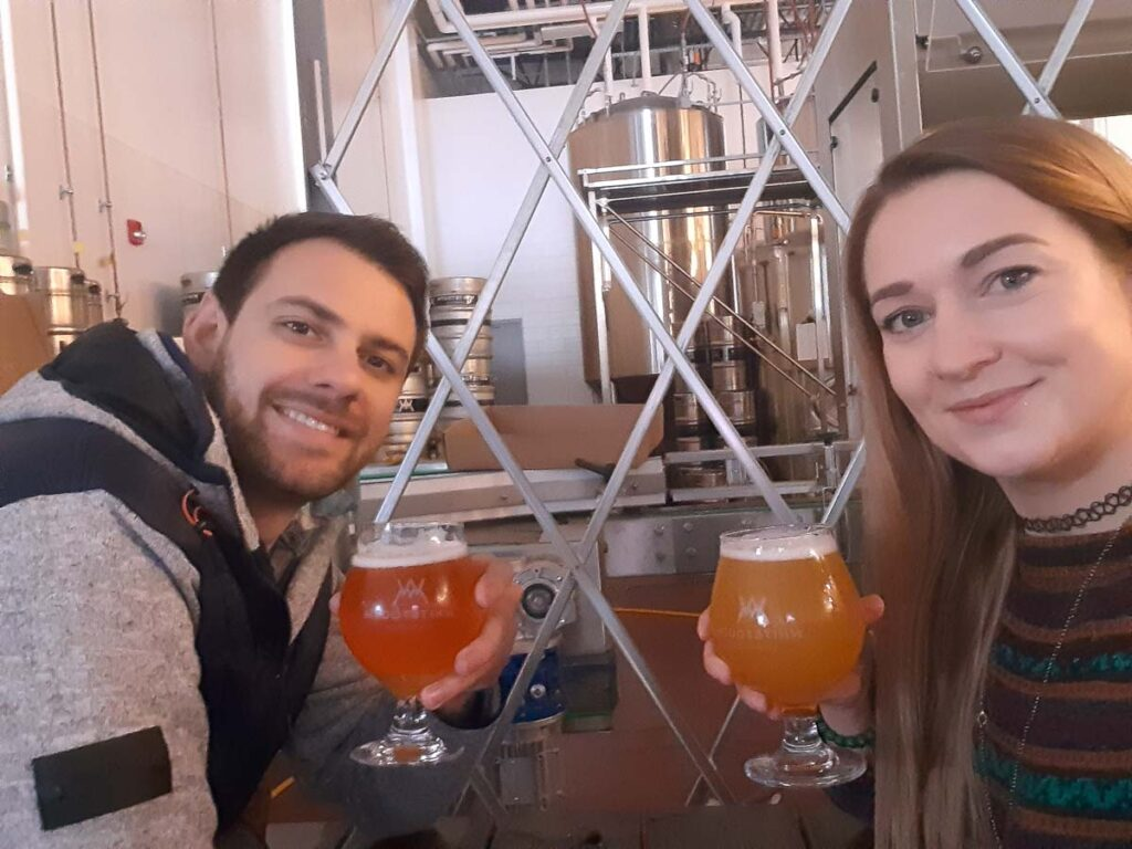 Enjoying a beer at Whitetooth Brewing Co.