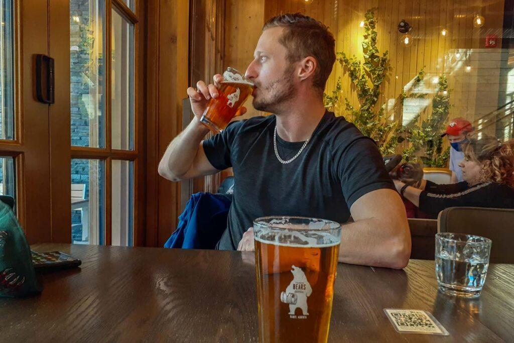 Drinking beer at Three Bears Brewery