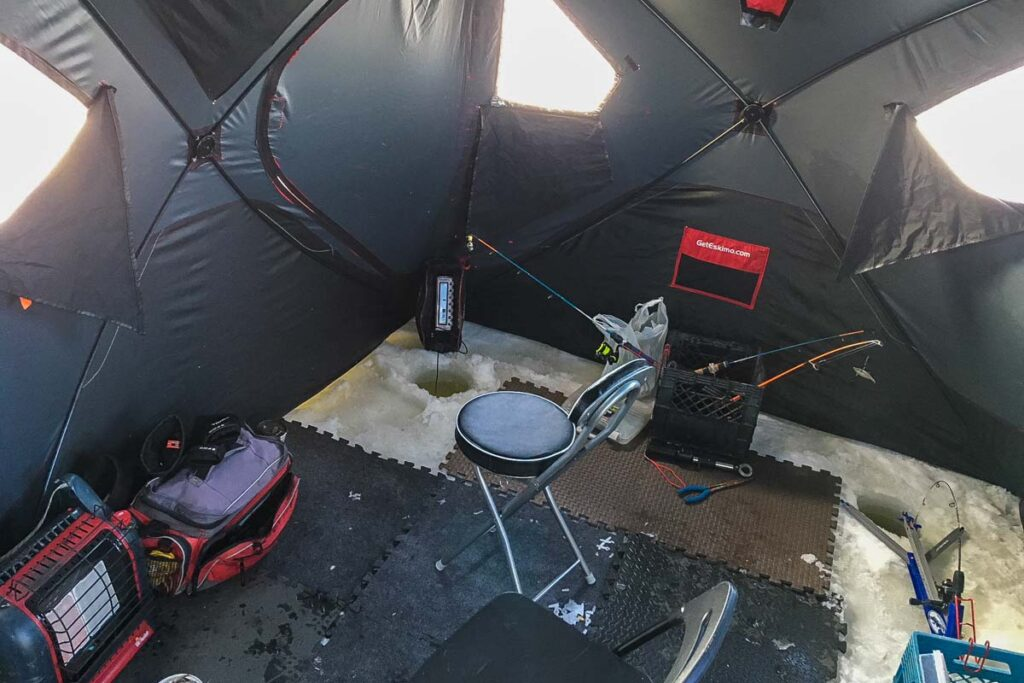 An ice fishing tent from Alberta Fishing Charters, Calgary
