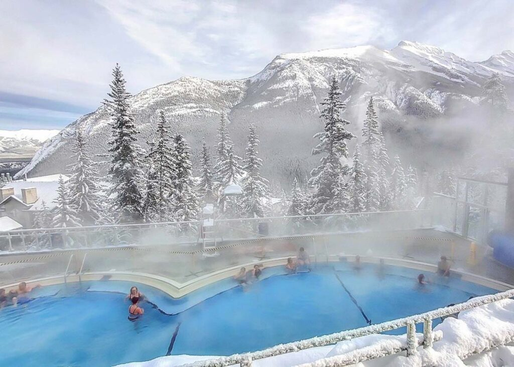 The Banff Upper Hot Springs during winter