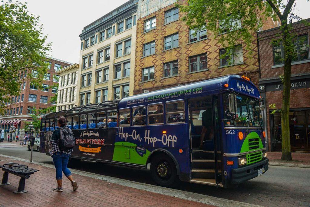 Vancouver hop-on-hop-off bus in Gastown