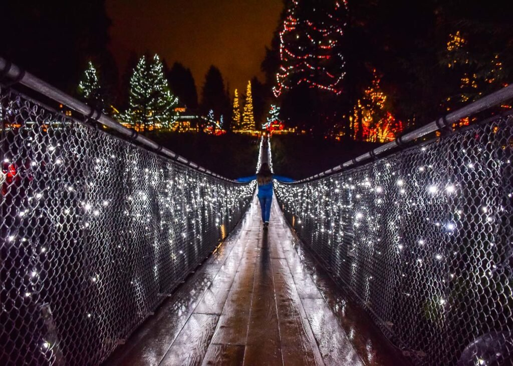 On the Capilano Suspension Bridge at night during winter in Vancouver