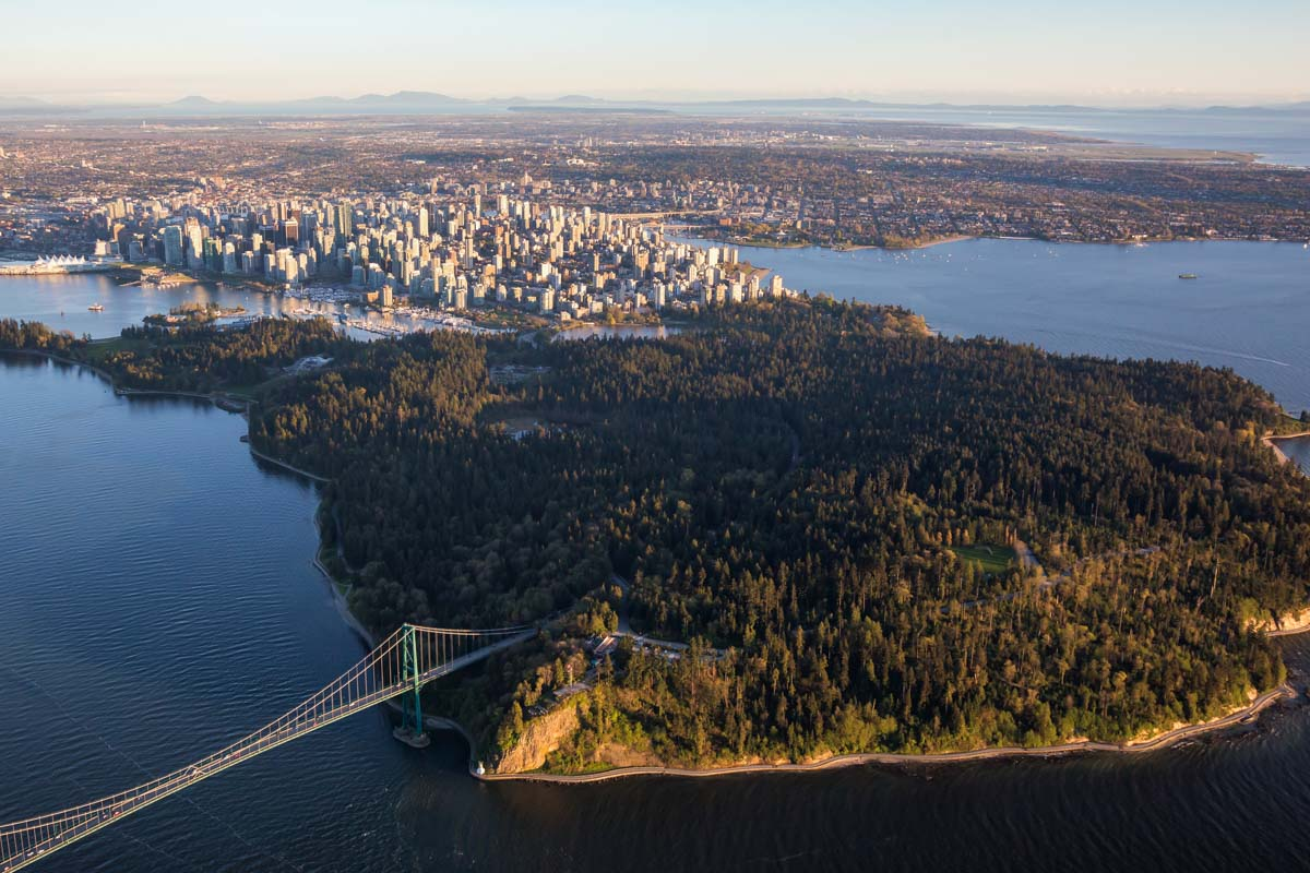 Arial view of Stanley Park, Vancouver