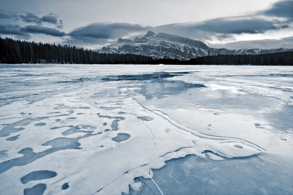 Two Jack Lake during winter in Banff