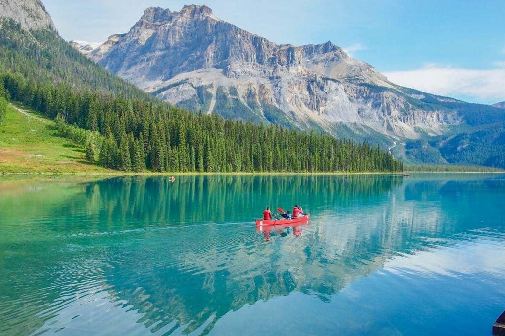People canoe on Emerald Lake