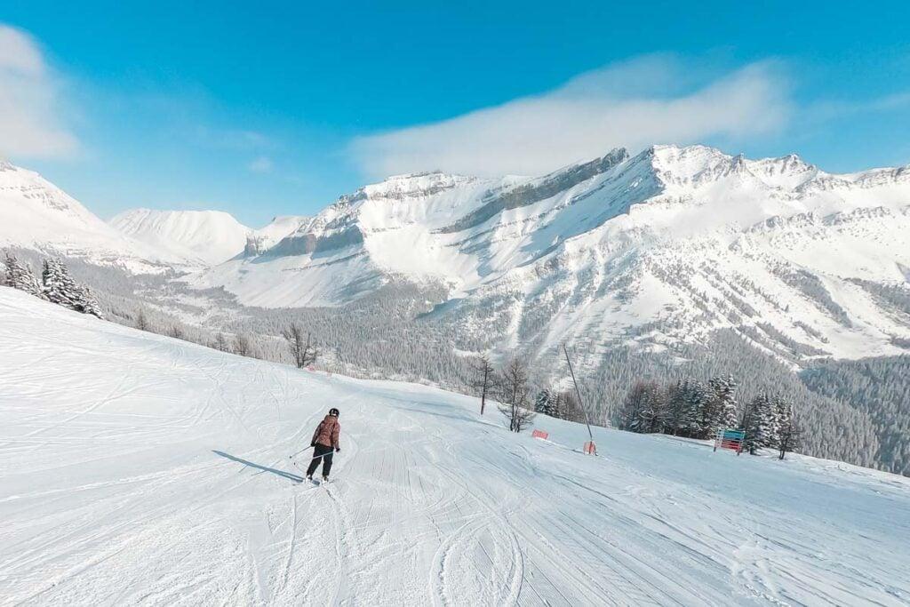 Skiing at Lake Louise Ski Resort from Calgary, Alberta in winter