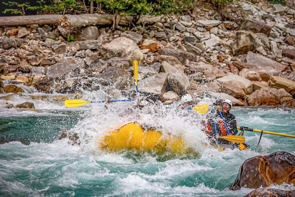 White water rafting down the Kicking Horse River in Golden