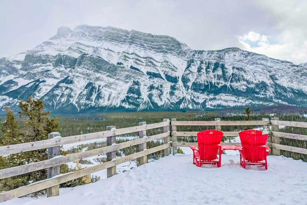 Views from the Hoodoos Trail in winter, Banff