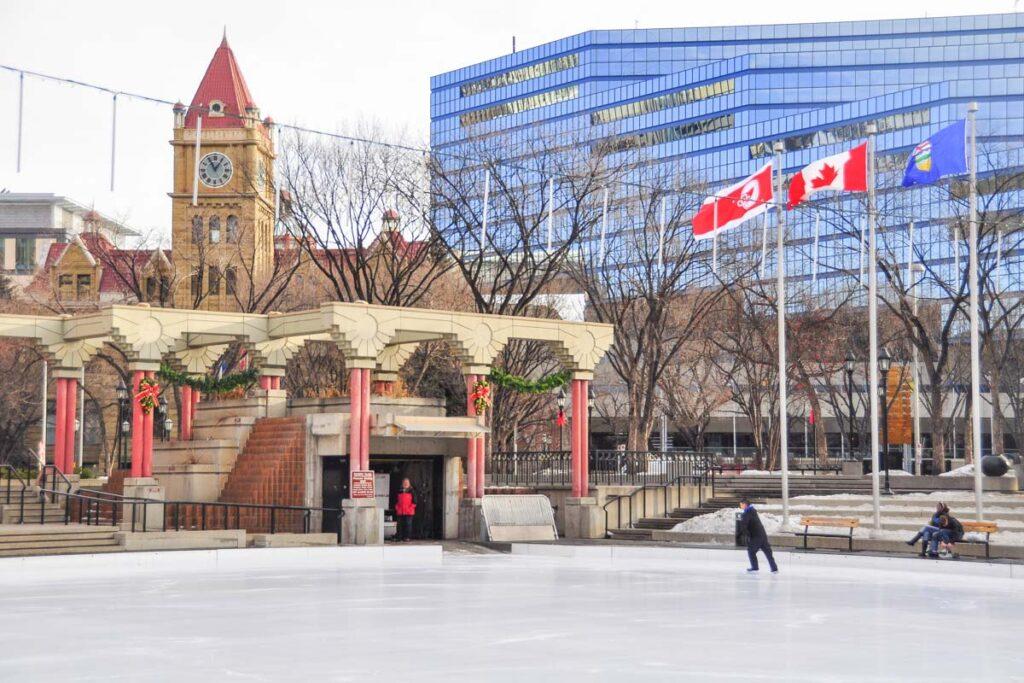 Ice skating at Olympic Plaza in Calgary