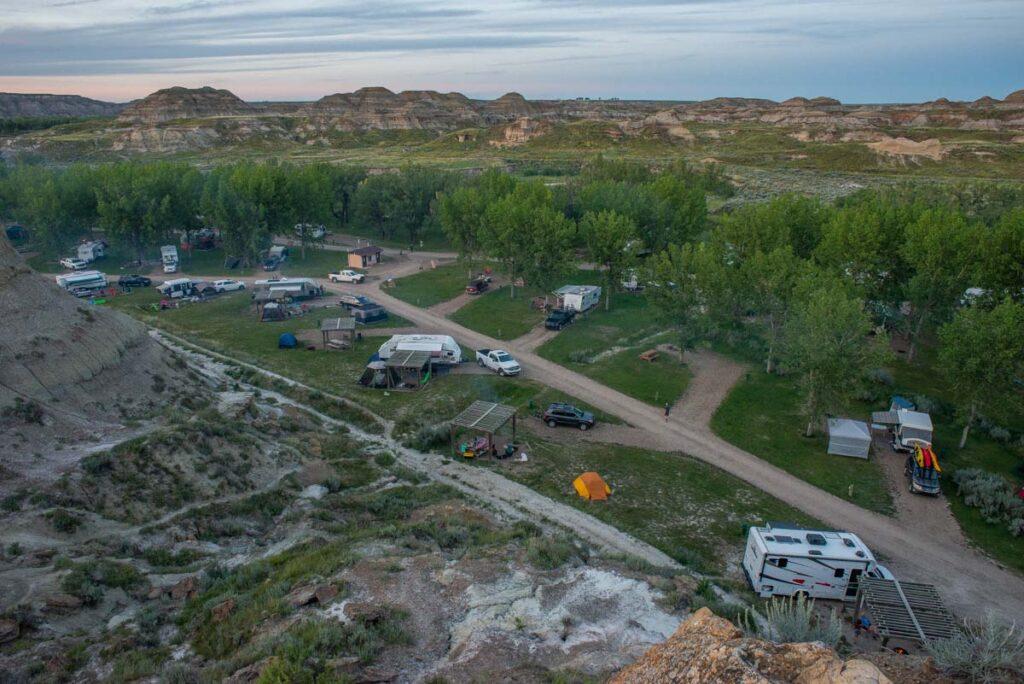 The campsite in Dinosaur Provincial Park
