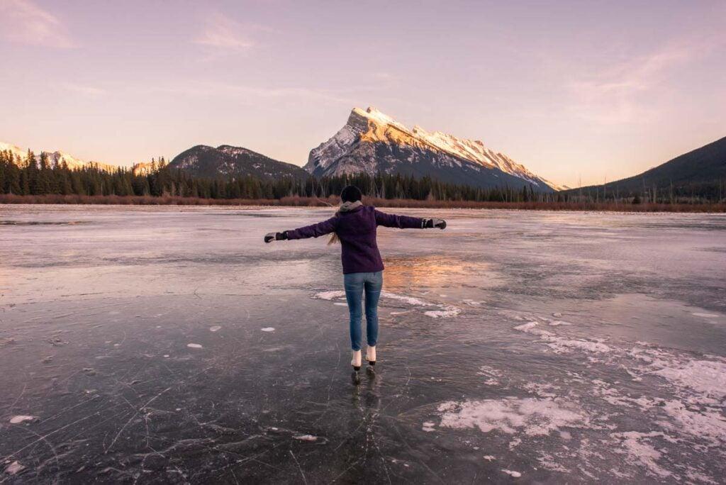 Ice skating on Vermillion Lakes