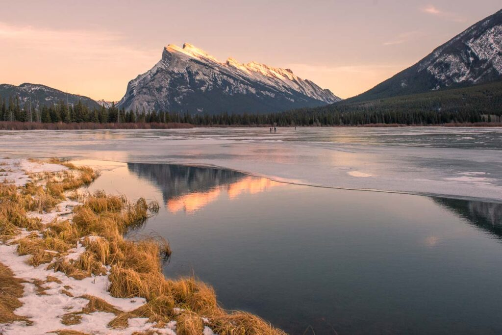 Gorgeous photo at sunset of Vermillion Lakes in winter