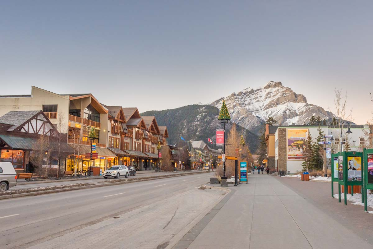 Banff town on a winter day