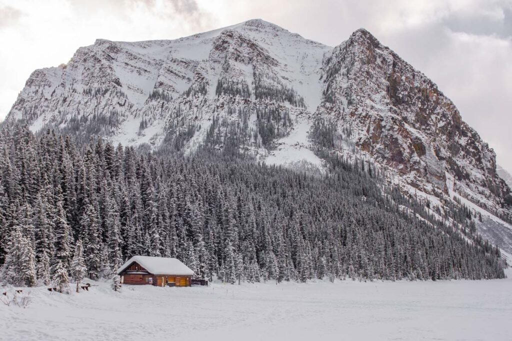A photo taken from the Lake Louise Foreshore in winter