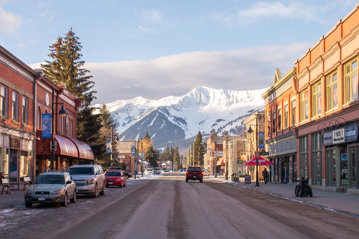 Fernie town on 2nd street facing the mountains in winter