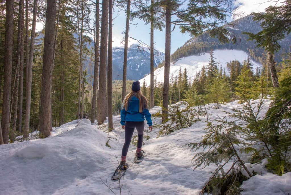 Snowshoeing through the Canadian forest in British Columbia