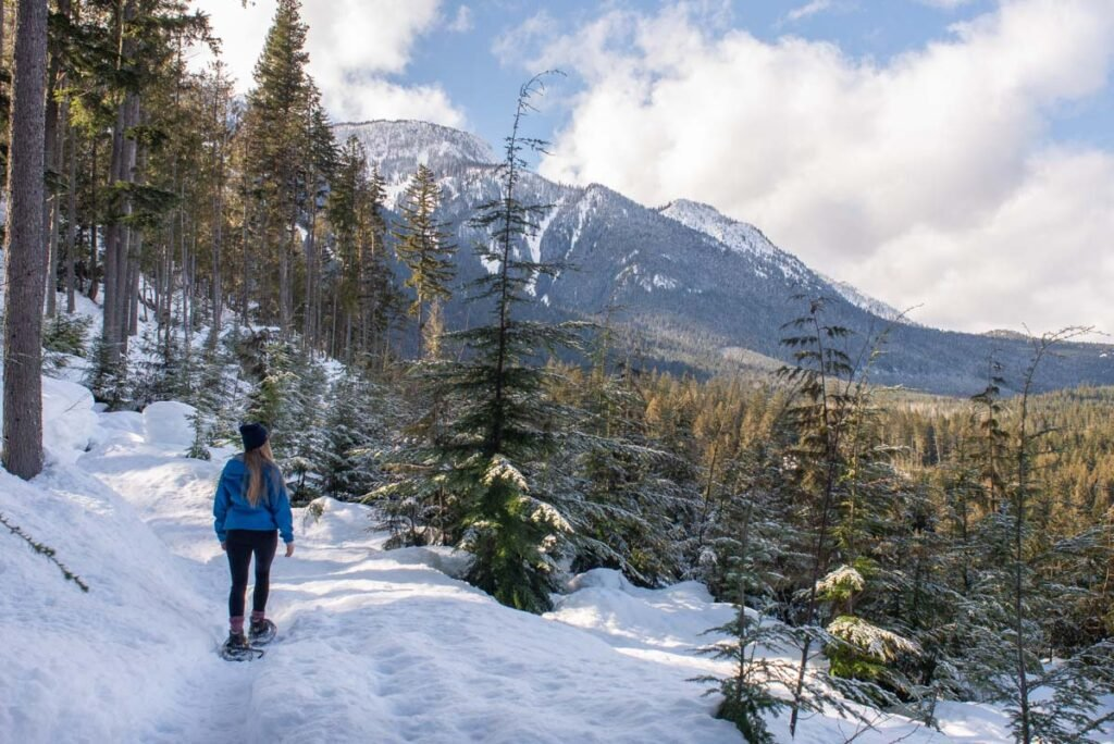 Snowshoeing at the Revelstoke Nordic Ski Club in winter