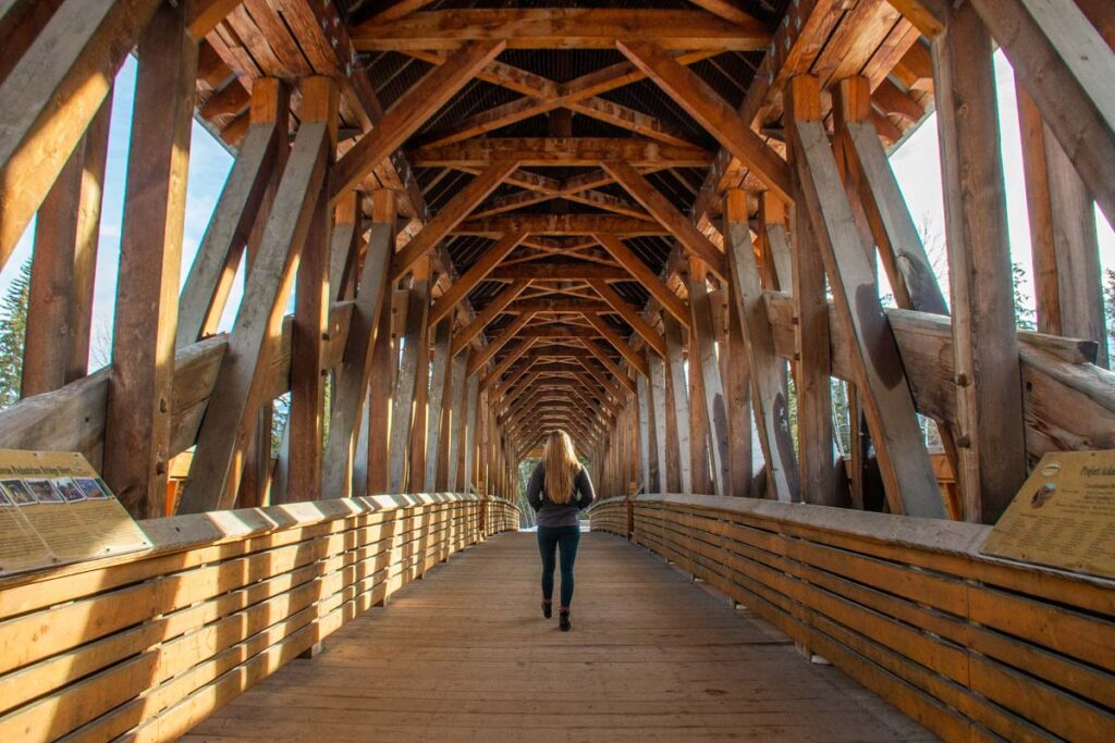 Walking through Kicking Horse Pedestrian Bridge