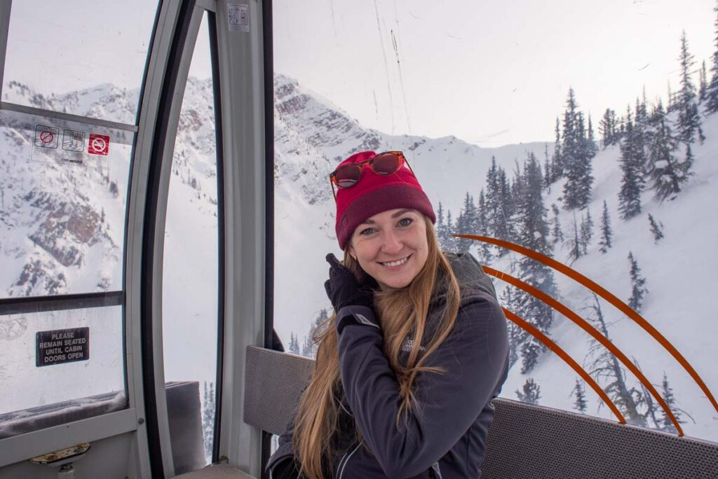 Bailey from Destinationless Travel on the Golden gondola