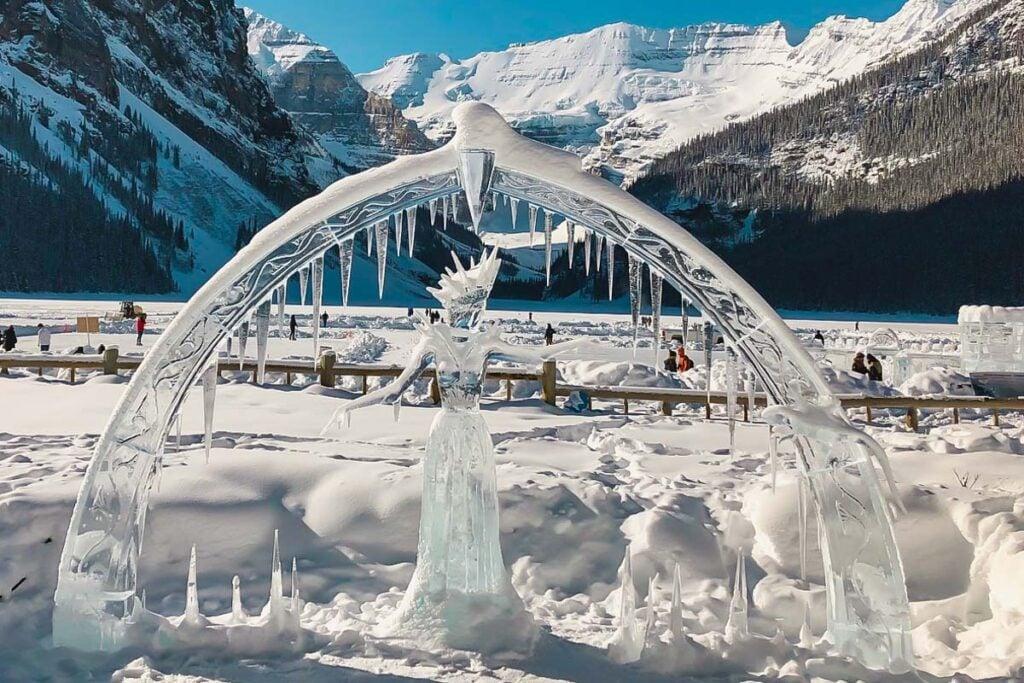 Ice sculpture at Lake Louise