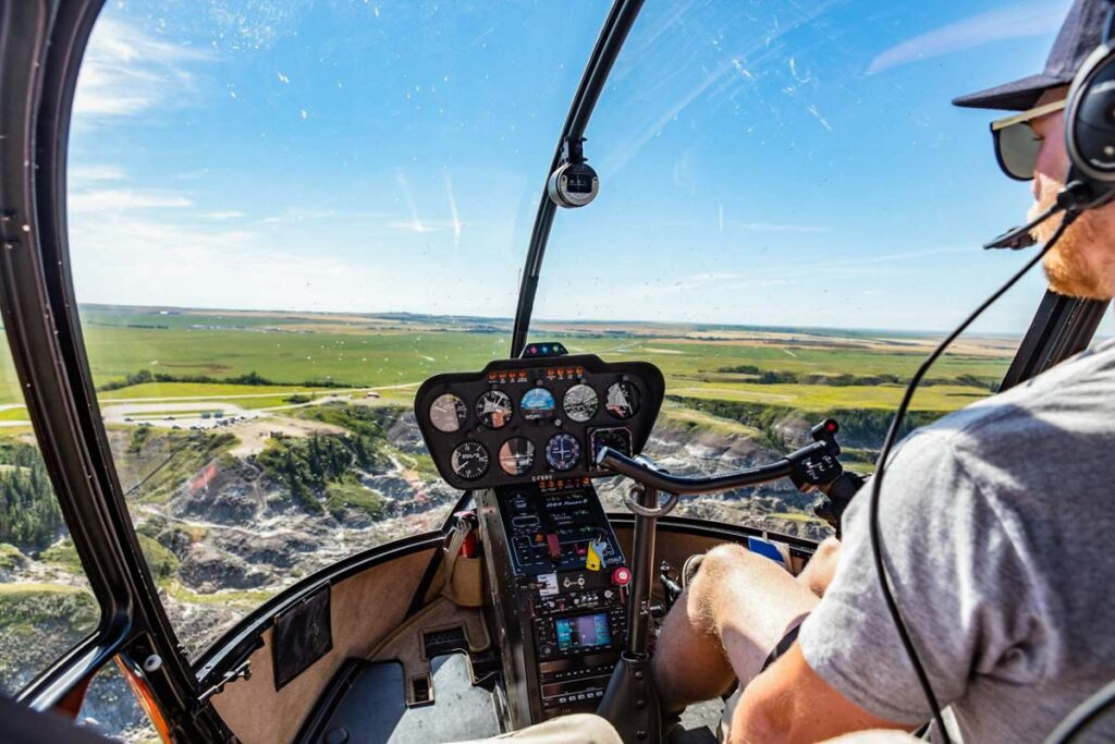 View from a helicopter in Drumheller