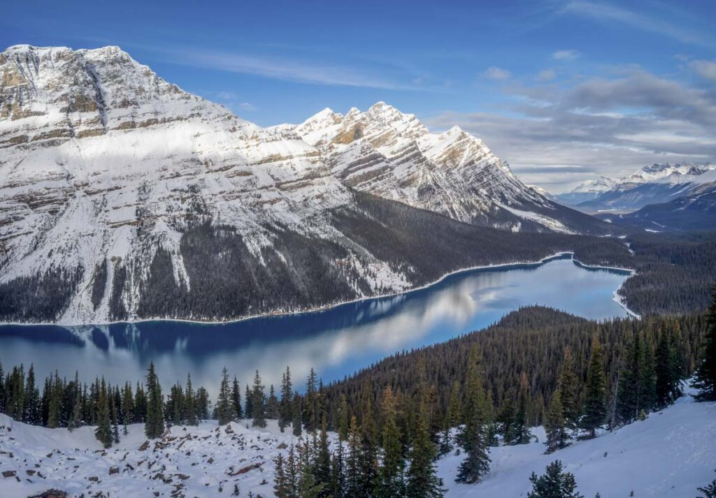 Peyto Lake in winter on the Icefields Parkway