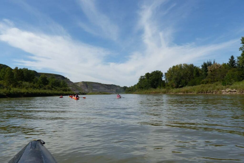 Kayaking on the Red Dear River in Drumheller