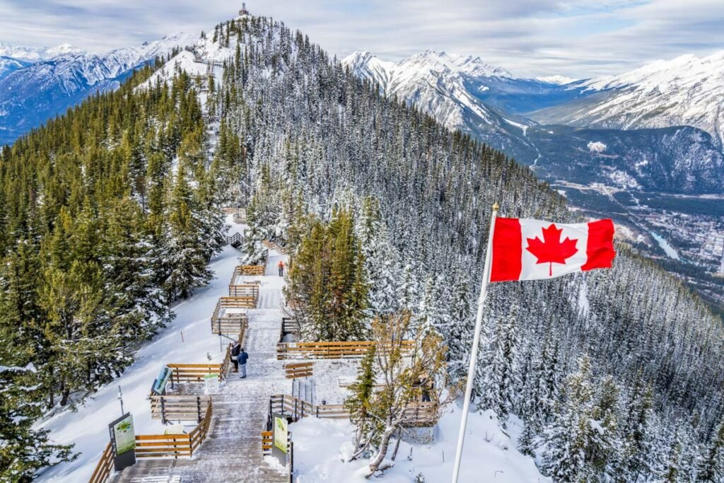 Sulphur Mountain in winter in Banff
