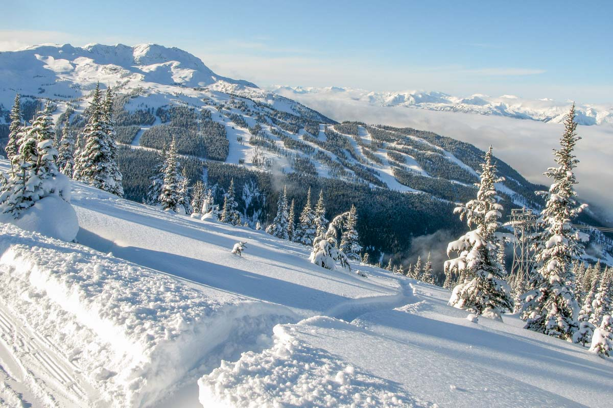 Mountain views from Whistler Blackcomb in winter
