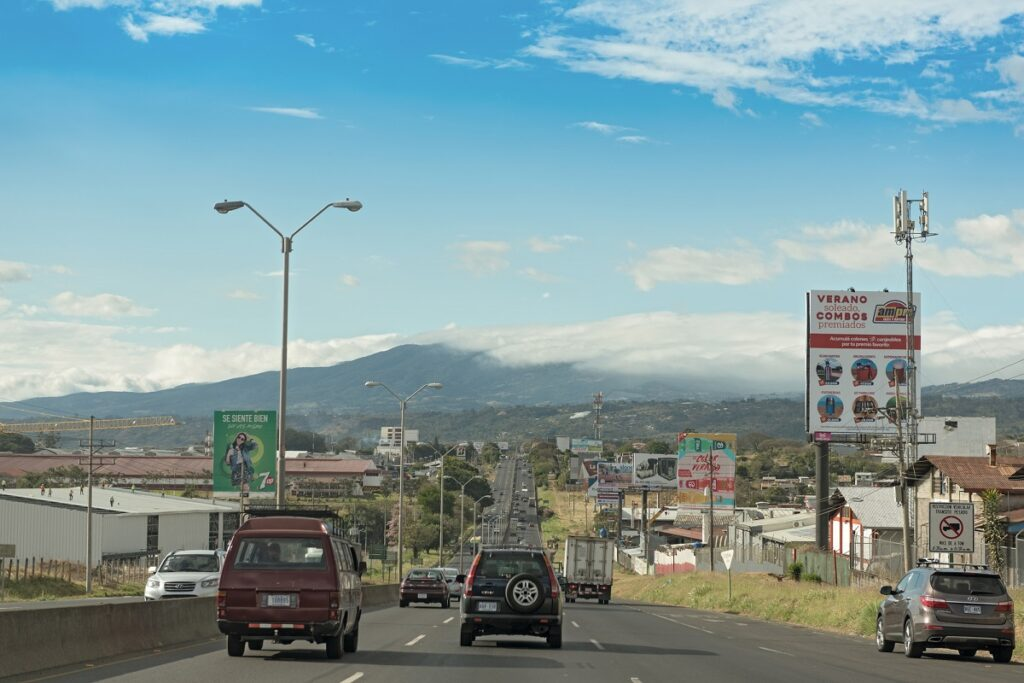 view of a road near the international airport in San Jose, Costa Rica