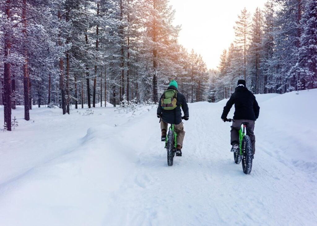 Bike riding in the snow in winter in Canada