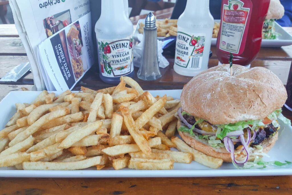 A burger and chips at Nomads in Revelstoke