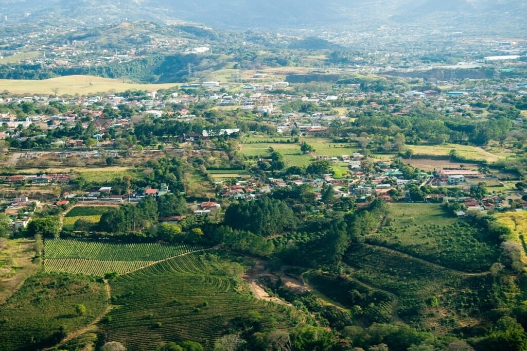 aerial view of the outter area of San Jose, Costa Rica