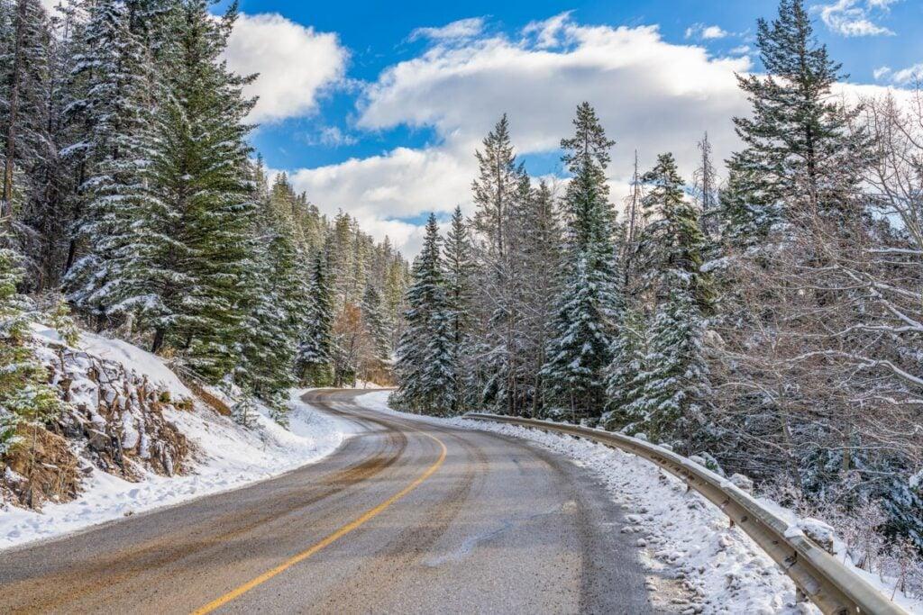 Winter road in British Columbia, Canada
