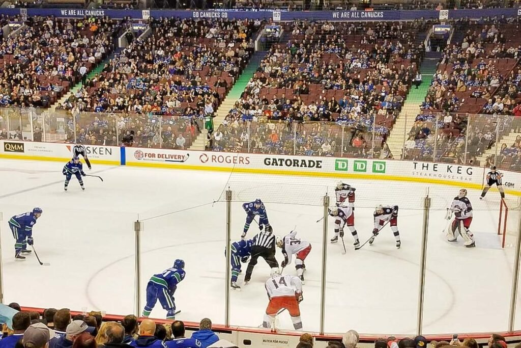 Vancouver Canucks in action at Rogers Arena